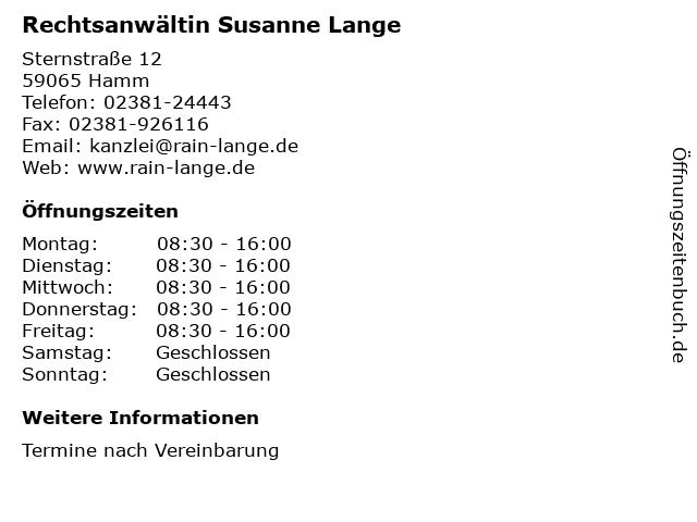 Rechtsanwältin Susanne Lange in Hamm: Adresse und Öffnungszeiten