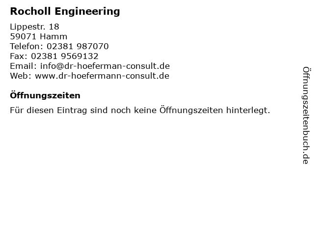 Rocholl Engineering in Hamm: Adresse und Öffnungszeiten