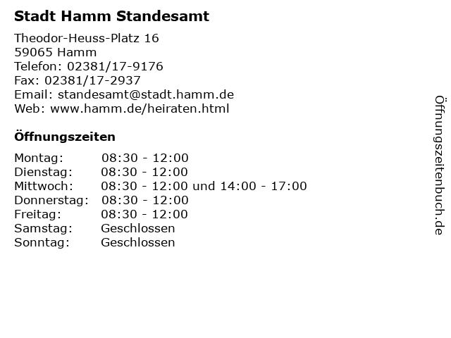 Stadt Hamm Standesamt in Hamm: Adresse und Öffnungszeiten