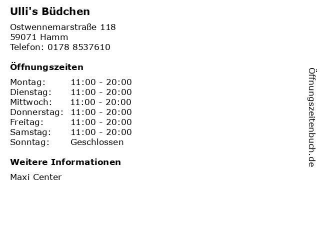 Ulli's Büdchen in Hamm: Adresse und Öffnungszeiten
