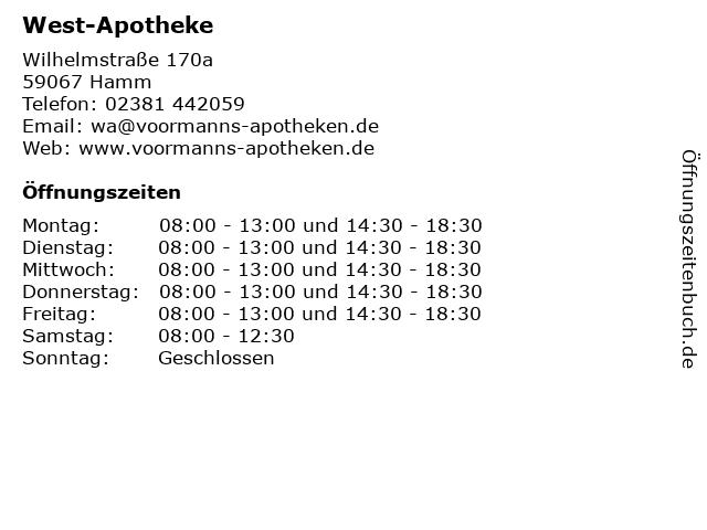 West-Apotheke in Hamm: Adresse und Öffnungszeiten