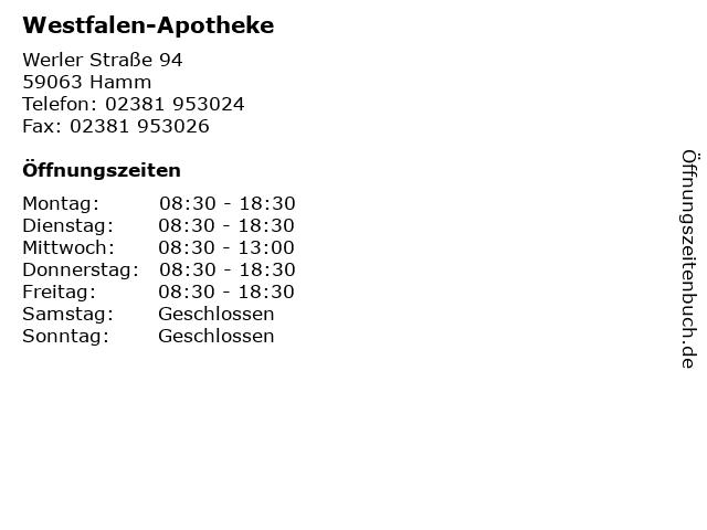 Westfalen-Apotheke in Hamm: Adresse und Öffnungszeiten
