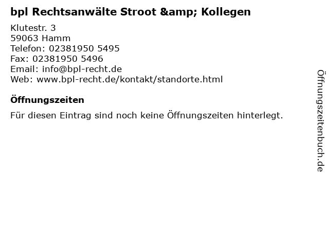 bpl Rechtsanwälte Stroot & Kollegen in Hamm: Adresse und Öffnungszeiten