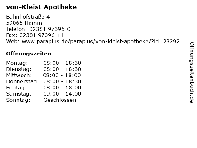 von-Kleist Apotheke in Hamm: Adresse und Öffnungszeiten