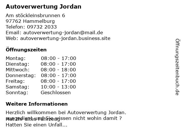 Roland Jordan Auto-Verwertung Kfz-Gebrauchtteile in Hammelburg: Adresse und Öffnungszeiten