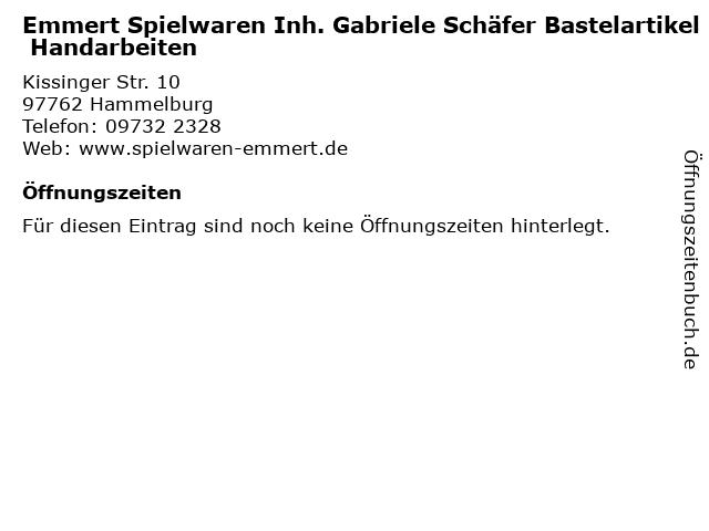 Emmert Spielwaren Inh. Gabriele Schäfer Bastelartikel Handarbeiten in Hammelburg: Adresse und Öffnungszeiten