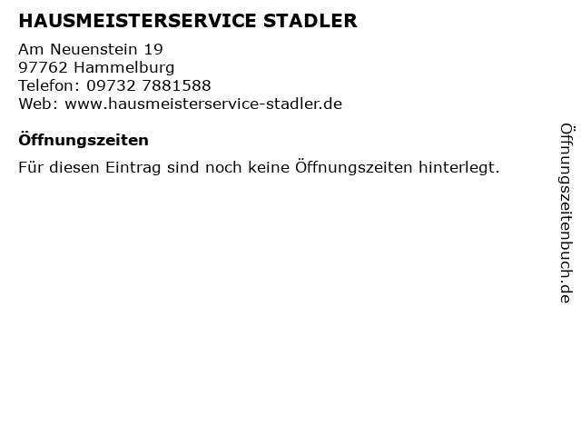 HAUSMEISTERSERVICE STADLER in Hammelburg: Adresse und Öffnungszeiten