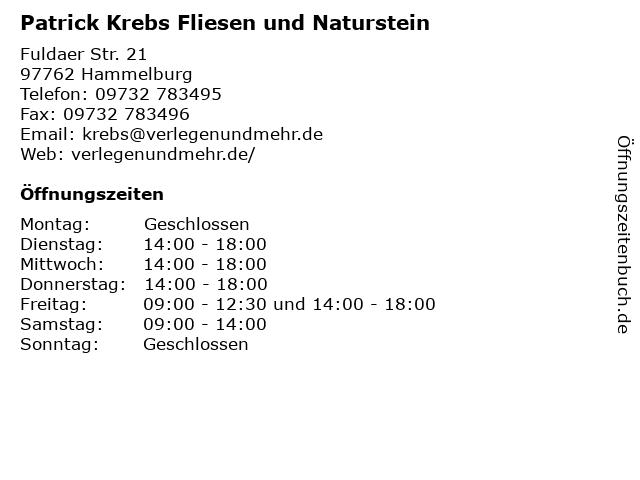 Patrick Krebs Fliesen und Naturstein in Hammelburg: Adresse und Öffnungszeiten