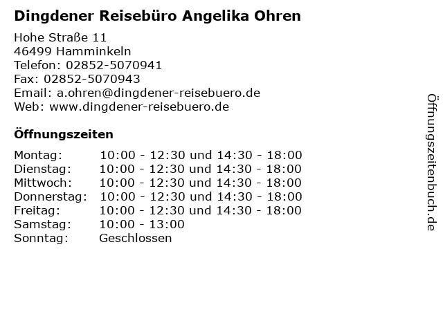 Dingdener Reisebüro Angelika Ohren in Hamminkeln: Adresse und Öffnungszeiten