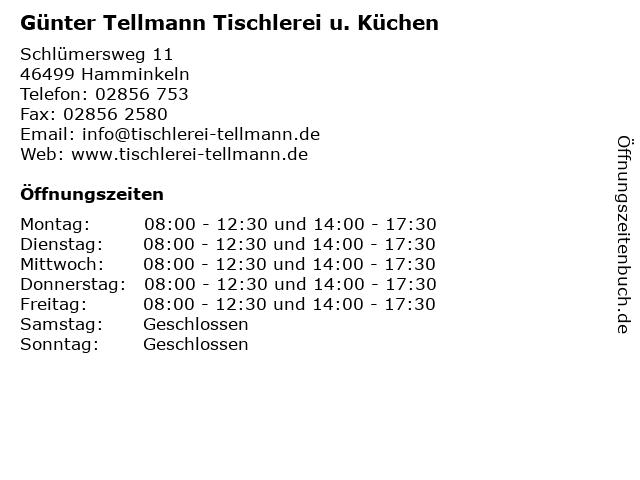 ᐅ Offnungszeiten Gunter Tellmann Tischlerei U Kuchen