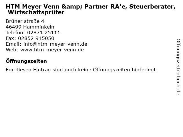 Rechtsanwälte HTM Meyer, Venn und Partner in Hamminkeln: Adresse und Öffnungszeiten