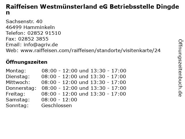 Raiffeisen Westmünsterland eG Betriebsstelle Dingden in Hamminkeln: Adresse und Öffnungszeiten