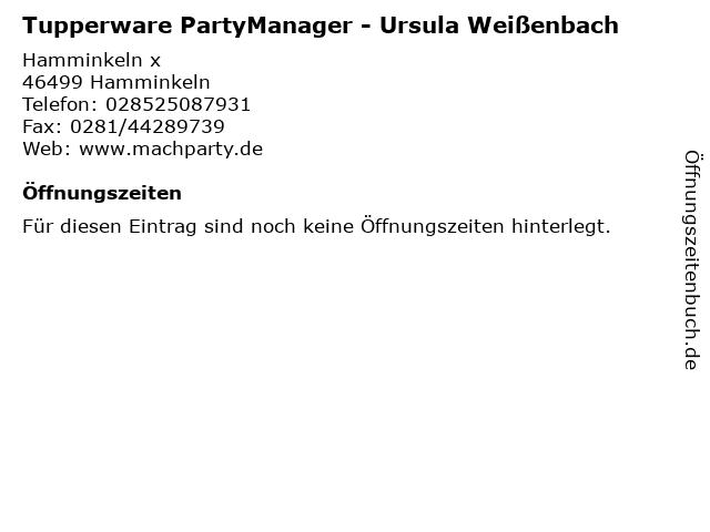 Tupperware PartyManager - Ursula Weißenbach in Hamminkeln: Adresse und Öffnungszeiten