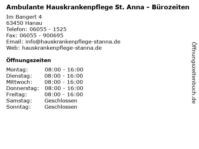Ambulante Hauskrankenpflege St. Anna - Bürozeiten in Hanau: Adresse und Öffnungszeiten