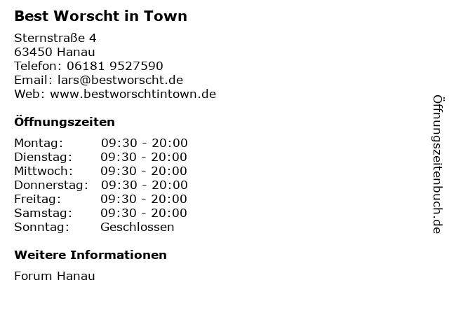ᐅ öffnungszeiten Best Worscht In Town Sternstraße 4 In Hanau