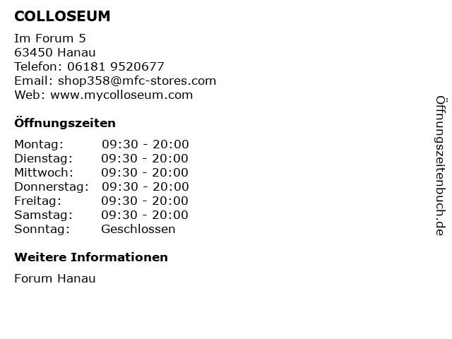 COLLOSEUM in Hanau: Adresse und Öffnungszeiten