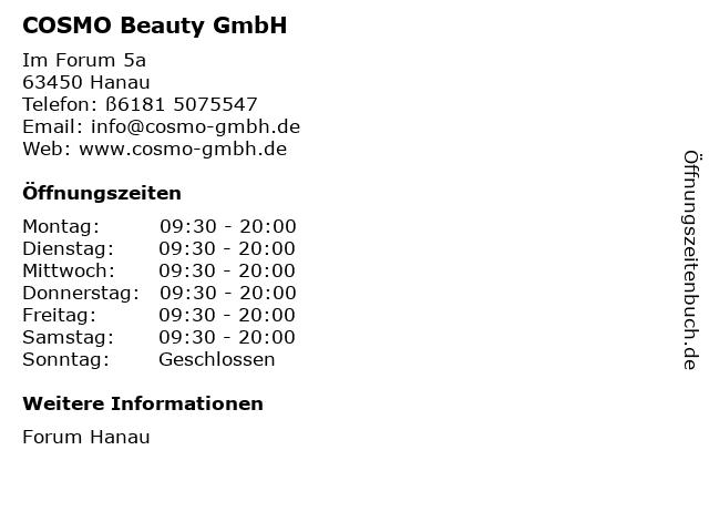 COSMO Beauty GmbH in Hanau: Adresse und Öffnungszeiten