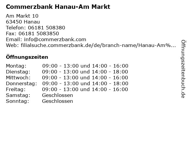 Commerzbank Hanau-Am Markt in Hanau: Adresse und Öffnungszeiten