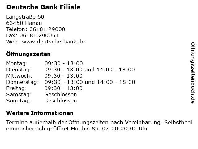 Deutsche Bank Filiale in Hanau: Adresse und Öffnungszeiten