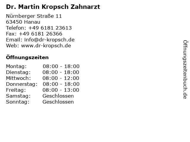 Dr. Martin Kropsch Zahnarzt in Hanau: Adresse und Öffnungszeiten