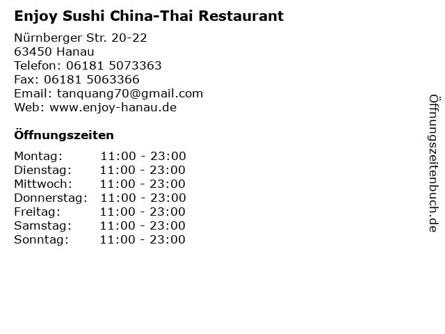 Enjoy Sushi China-Thai Restaurant in Hanau: Adresse und Öffnungszeiten