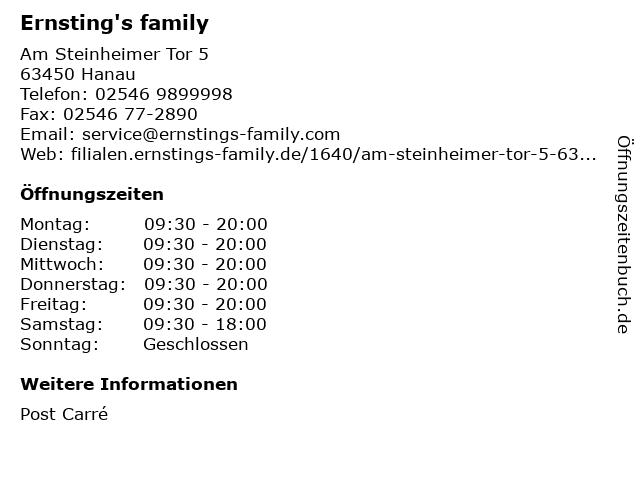 Ernsting's family in Hanau: Adresse und Öffnungszeiten