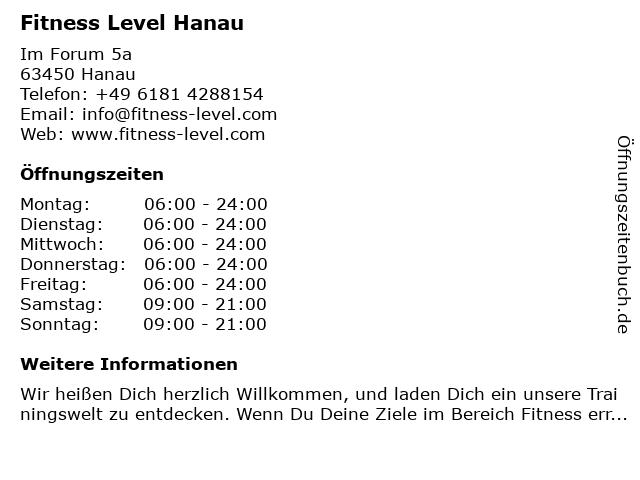 Fitness Level GmbH in Hanau: Adresse und Öffnungszeiten