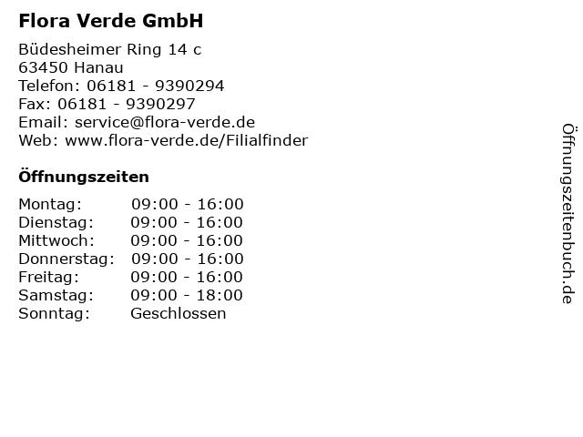 Flora Verde GmbH in Hanau: Adresse und Öffnungszeiten