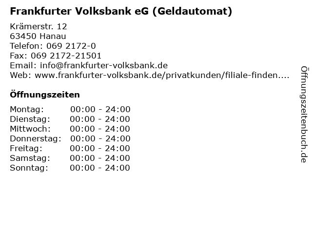 Frankfurter Volksbank eG (Geldautomat) in Hanau: Adresse und Öffnungszeiten