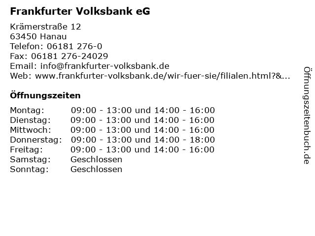 Frankfurter Volksbank eG in Hanau: Adresse und Öffnungszeiten