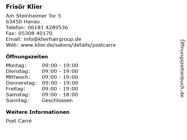 Frisör Klier GmbH in Hanau: Adresse und Öffnungszeiten