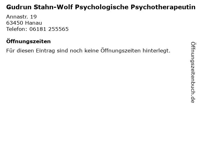 Gudrun Stahn-Wolf Psychologische Psychotherapeutin in Hanau: Adresse und Öffnungszeiten