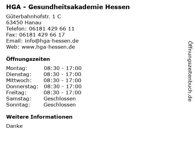HGA - Gesundheitsakademie Hessen in Hanau: Adresse und Öffnungszeiten