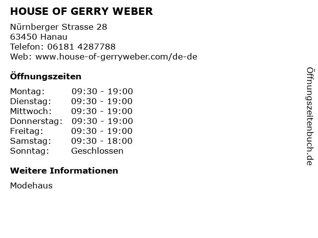 HOUSE OF GERRY WEBER in Hanau: Adresse und Öffnungszeiten