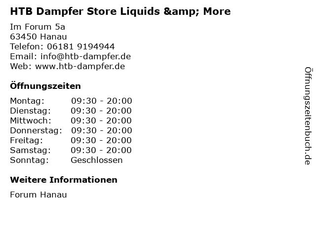 HTB Dampfer Store Liquids & More in Hanau: Adresse und Öffnungszeiten