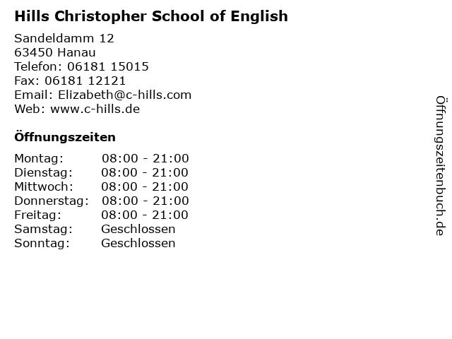 Hills Christopher School of English in Hanau: Adresse und Öffnungszeiten
