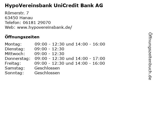 HypoVereinsbank UniCredit Bank AG in Hanau: Adresse und Öffnungszeiten
