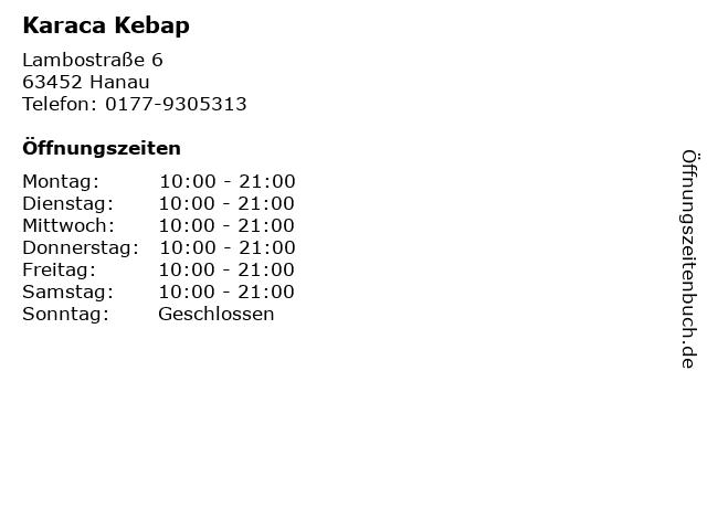 Karaca Kebap in Hanau: Adresse und Öffnungszeiten