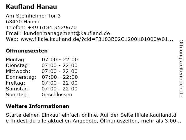 Kaufland Hanau in Hanau: Adresse und Öffnungszeiten