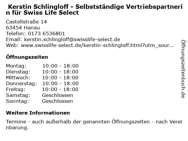 Kerstin Schlingloff - Selbstständige Vertriebspartnerin für Swiss Life Select in Hanau: Adresse und Öffnungszeiten