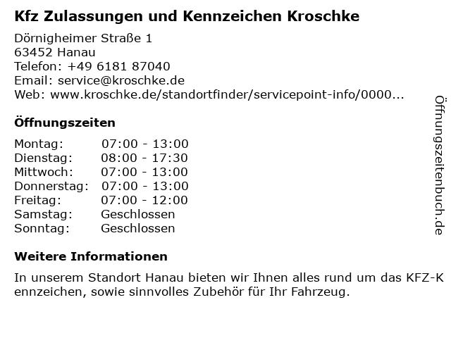 Kfz Zulassungen und Kennzeichen Kroschke in Hanau: Adresse und Öffnungszeiten