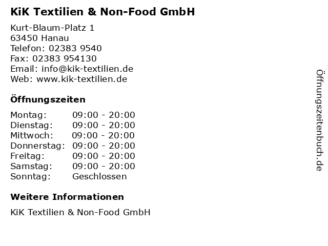 KiK Textilien & Non-Food GmbH in Hanau: Adresse und Öffnungszeiten