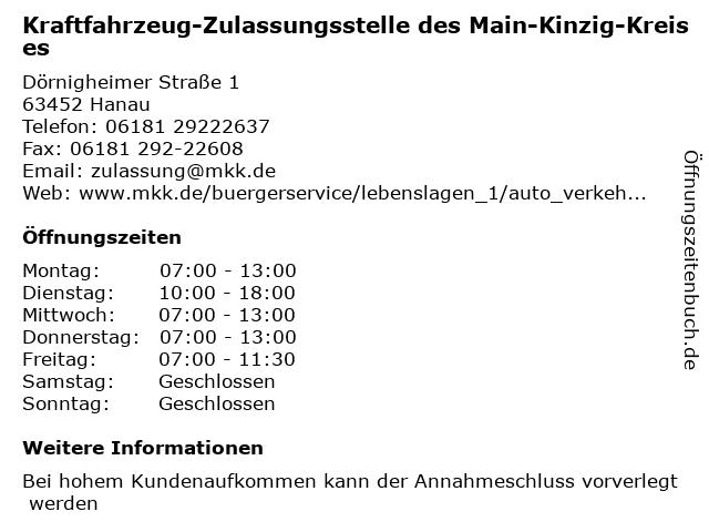 Kraftfahrzeug-Zulassungsstelle des Main-Kinzig-Kreises in Hanau: Adresse und Öffnungszeiten