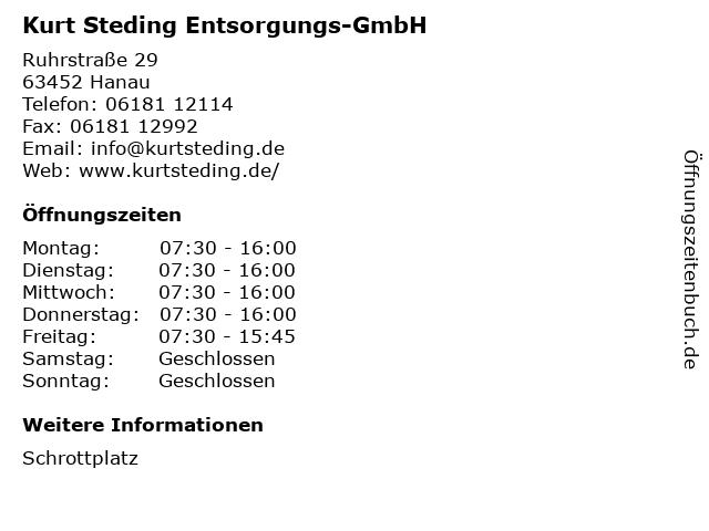 Kurt Steding Entsorgungs-GmbH in Hanau: Adresse und Öffnungszeiten