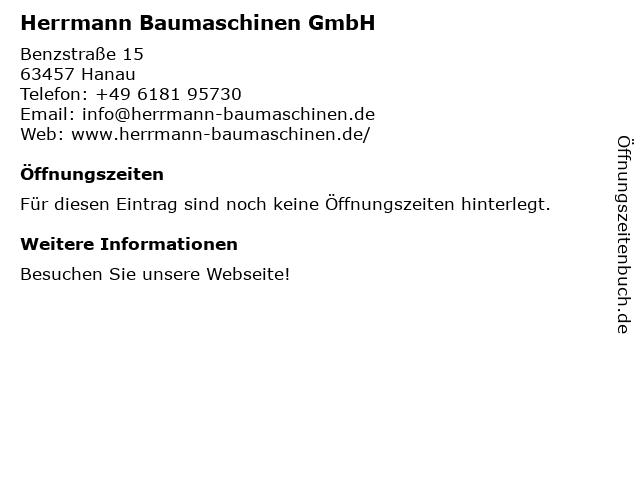 Lothar Herrmann Baumaschinen GmbH in Hanau: Adresse und Öffnungszeiten