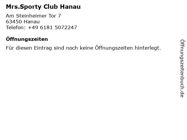 Mrs.Sporty Club Hanau in Hanau: Adresse und Öffnungszeiten