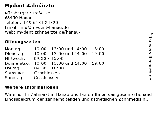 Zahnarztpraxis Dr. med. dent. Viktor Bergmann in Hanau: Adresse und Öffnungszeiten