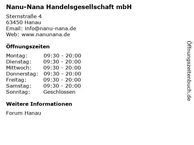 Nanu-Nana Handelsgesellschaft mbH in Hanau: Adresse und Öffnungszeiten