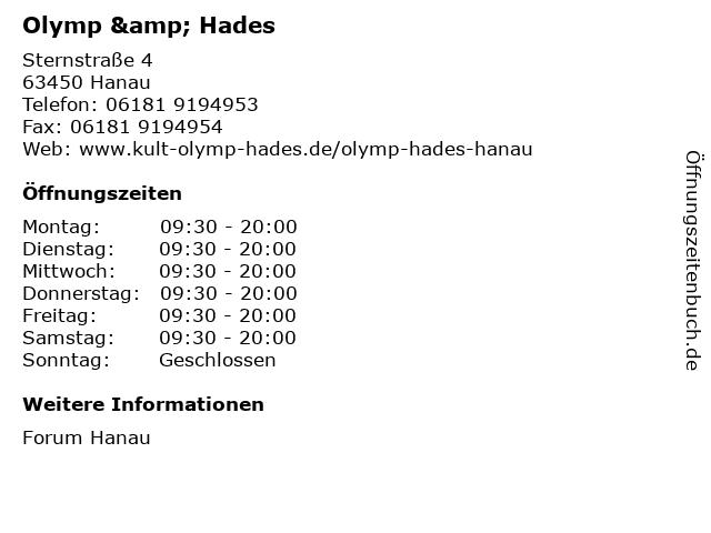 Olymp & Hades in Hanau: Adresse und Öffnungszeiten