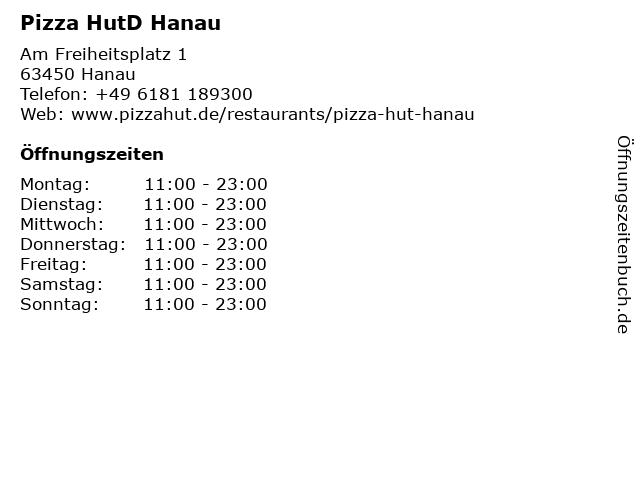 Pizza HutD Hanau in Hanau: Adresse und Öffnungszeiten